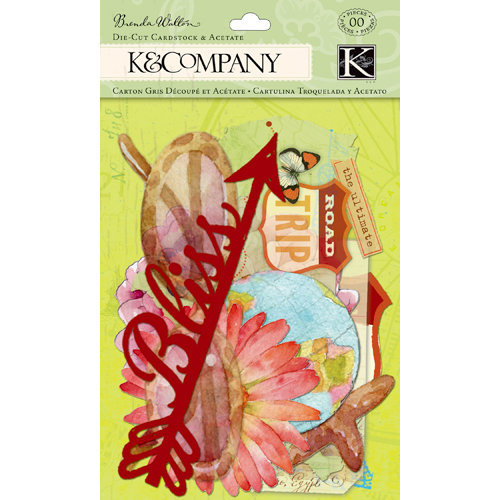 K and Company - Around the World Collection - Die Cut Cardstock and Acetate Pieces with Glitter Accents