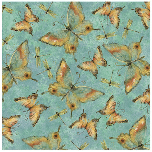 K and Company - Nature Collection - 12 x 12 Paper with Glitter Accents - Butterfly