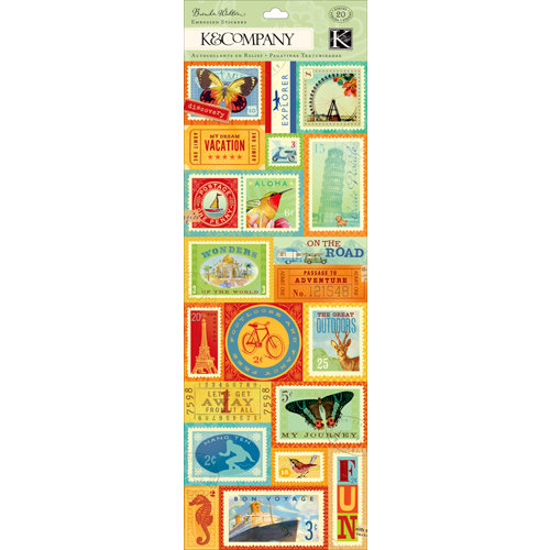 K and Company - Around the World Collection - Embossed Stickers with Glitter Accents - Postage Stamp