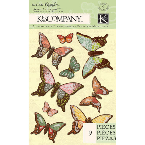 K and Company - Engraved Garden Collection - Grand Adhesions - Butterfly