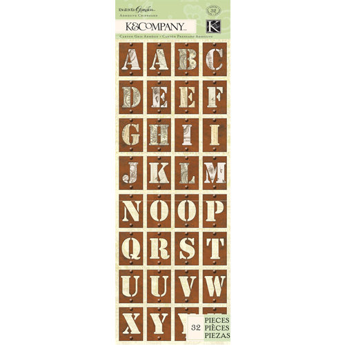 K and Company - Engraved Garden Collection - Adhesive Chipboard - Alphabet