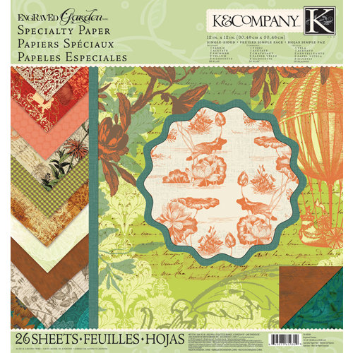 K and Company - Engraved Garden Collection - 12 x 12 Specialty Paper Pad