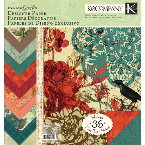 K and Company - Engraved Garden Collection - 12 x 12 Designer Paper Pad