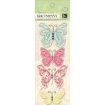 K and Company - Watercolor Bouquet Collection - Fabric Art with Gem Accents - Butterfly