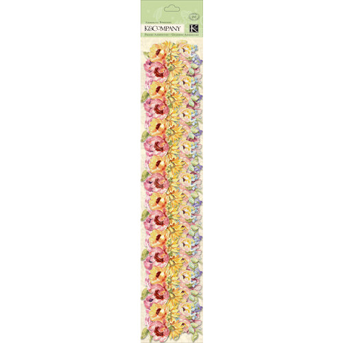 K and Company - Watercolor Bouquet Collection - Adhesive Borders with Glitter Accents - Floral