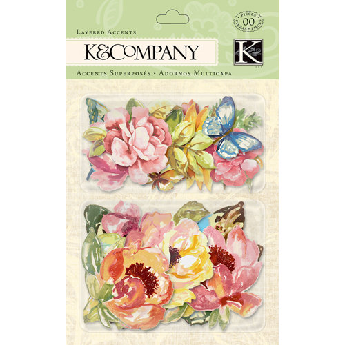 K and Company - Watercolor Bouquet Collection - Layered Accents with Glitter Accents