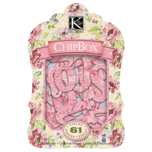 K and Company - Watercolor Bouquet Collection - Chipboard Box with Glitter Accents - Alphabet