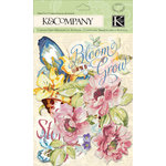 K and Company - Watercolor Bouquet Collection - Die Cut Cardstock and Acetate Pieces with Glitter Accents
