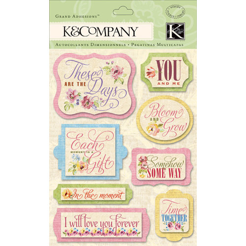 K and Company - Watercolor Bouquet Collection - Grand Adhesions with Glitter Accents - Word