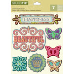 K and Company - Studio 112 Collection - Adhesive Chipboard with Glitter Accents - Flourish
