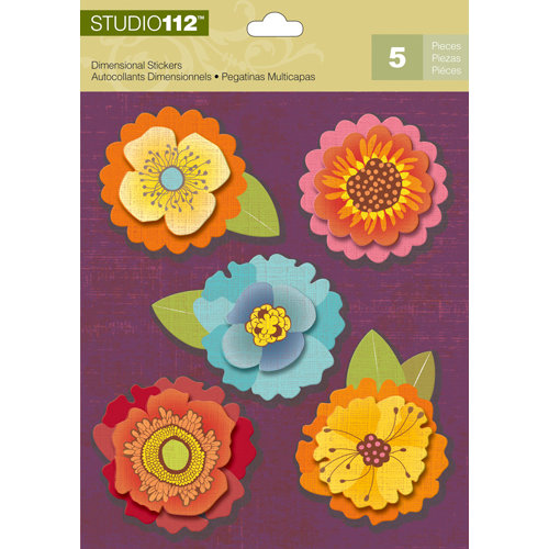 K and Company - Studio 112 Collection - 3 Dimensional Stickers - Flower