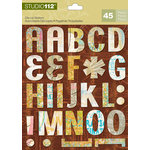 K and Company - Studio 112 Collection - Die Cut Stickers with Foil Accents - Alphabet - Bright Graffiti