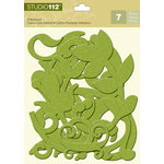 K and Company - Studio 112 Collection - Glitter Chipboard Pieces - Lime Swirls