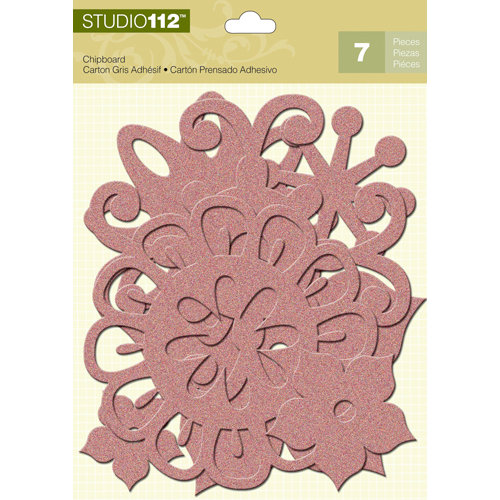 K and Company - Studio 112 Collection - Glitter Chipboard Pieces - Pink Florals