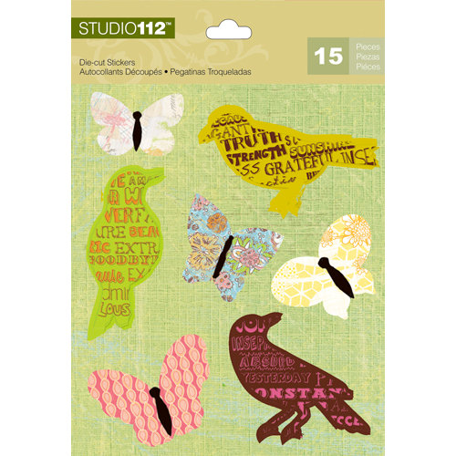 K and Company - Studio 112 Collection - Die Cut Stickers - Bird and Butterfly