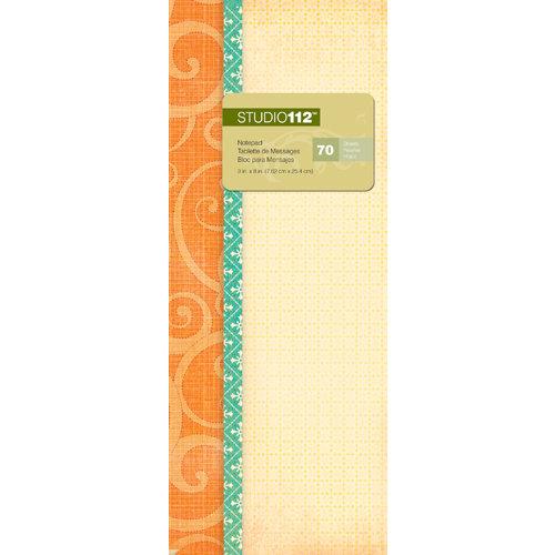 K and Company - Studio 112 Collection - 3 x 8 Notepad - Orange Swirls