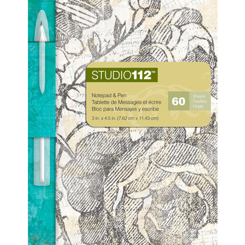 K and Company - Studio 112 Collection - Notepad with Pen - Black and White Floral