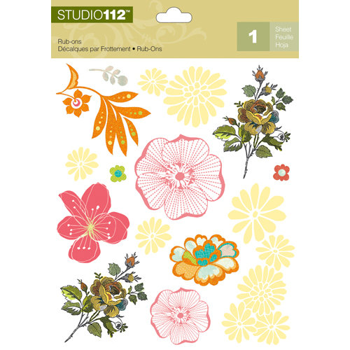 K and Company - Studio 112 Collection - Rub Ons - Floral