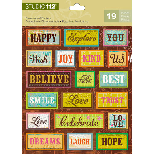 K and Company - Studio 112 Collection - 3 Dimensional Stickers - Bright Word