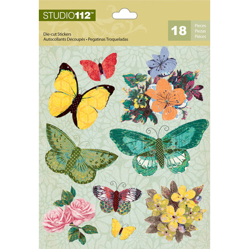 K and Company - Studio 112 Collection - Die Cut Stickers with Foil Accents - Spring Butterflies
