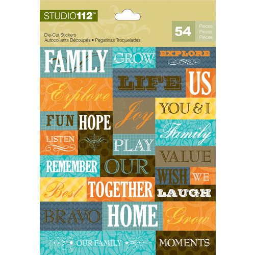 K and Company - Studio 112 Collection - Die Cut Stickers with Foil Accents - Textural Word