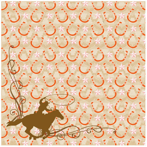 K and Company - Edamame Collection - 12 x 12 Paper - Horseshoe