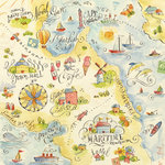 K and Company - Around the World Collection - 12 x 12 Paper with Varnish Accents - Map Sketch