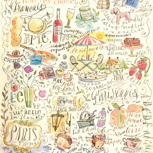 K and Company - Around the World Collection - 12 x 12 Paper - Paris Sketchbook