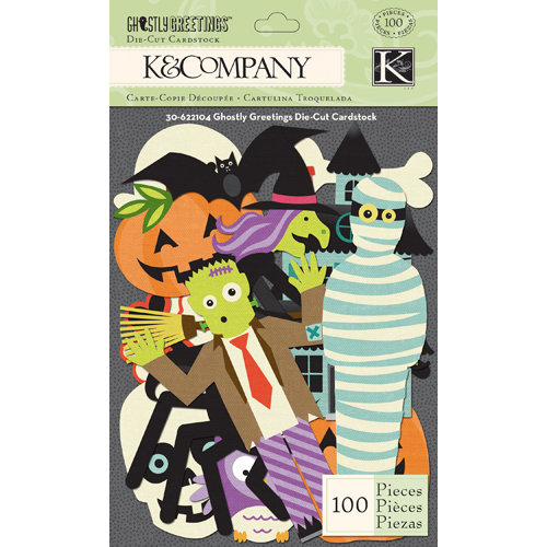 K and Company - Ghostly Greetings Collection - Halloween - Die Cut Cardstock Pieces with Varnish Accents