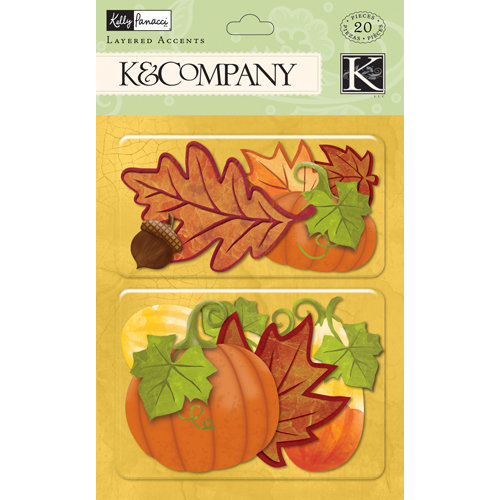 K and Company - Halloween Collection - Layered Accents - Fall Leaves with Glitter Accents