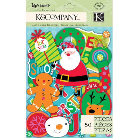 K and Company - Very Merry Collection - Christmas - Die Cut Cardstock Pieces