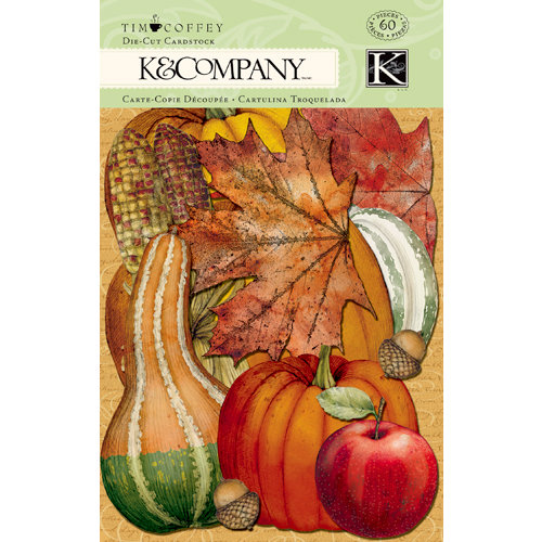 K and Company - Fall Collection - Die Cut Cardstock Pieces with Glitter Accents
