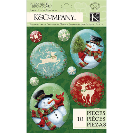 K and Company - Visions of Christmas Collection - 3 Dimensional Stickers with Glitter Accents - Snowmen Snow Globe