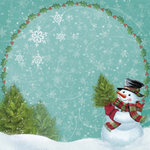 K and Company - Visions of Christmas Collection - 12 x 12 Paper with Glitter Accents - Snowman