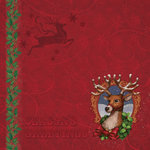 K and Company - Visions of Christmas Collection - 12 x 12 Paper with Foil Accents - Reindeer