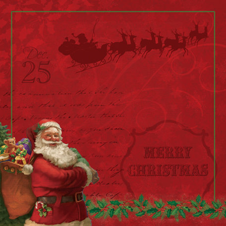 K and Company - Visions of Christmas Collection - 12 x 12 Paper with Foil Accents - Santa