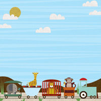 K and Company - Actopus to Zelephant Collection - 12 x 12 Paper - Train, CLEARANCE