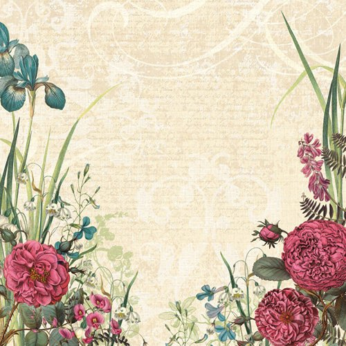 K and Company - Merryweather Collection - 12 x 12 Paper with Glitter Accents - Rose