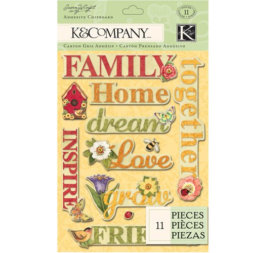 K and Company - Meadow Collection - Adhesive Chipboard - Word