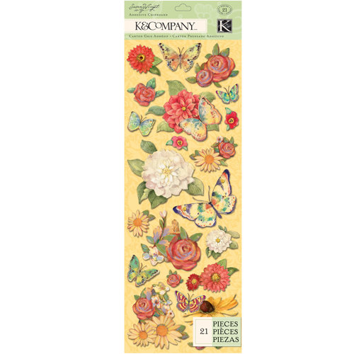 K and Company - Meadow Collection - Adhesive Chipboard - Butterfly
