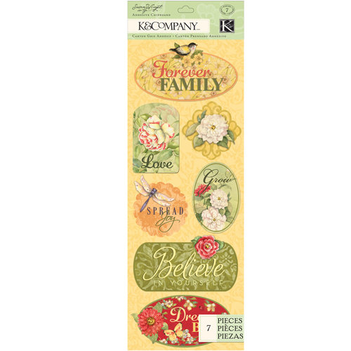 K and Company - Meadow Collection - Adhesive Chipboard - Word and Icon