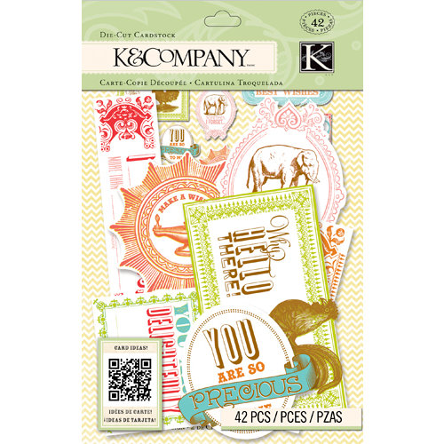 K and Company - Beyond Postmarks Collection - Die Cut Cardstock Pieces - Letterpress