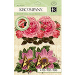 K and Company - Beyond Postmarks Collection - Botanical Floral Fan with Glitter Accents