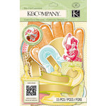K and Company - Beyond Postmarks Collection - Scratch-Off Die Cut Cardstock Pieces - Letterpress