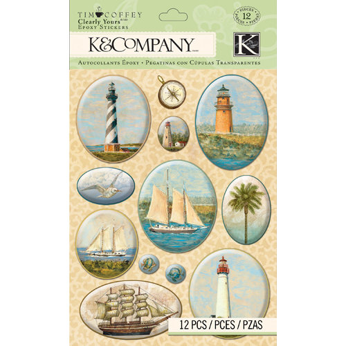 K and Company - Travel Collection - Clearly Yours - Epoxy Stickers - Map
