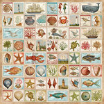 K and Company - Travel Collection - 12 x 12 Paper with Varnish Accents - Stamp