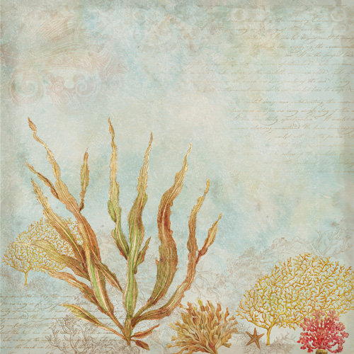 K and Company - Travel Collection - 12 x 12 Paper - Seaweed