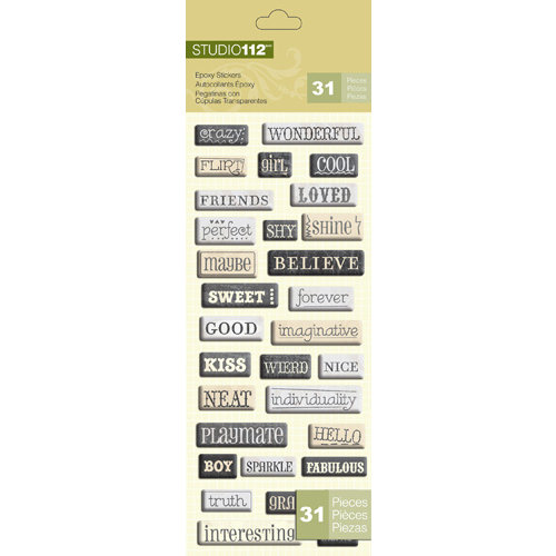 K and Company - Studio 112 Collection - Epoxy Stickers - Word
