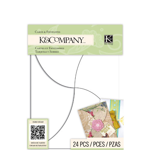 K and Company - Beyond Postmarks Collection - Die Cut Cards and Envelopes - White