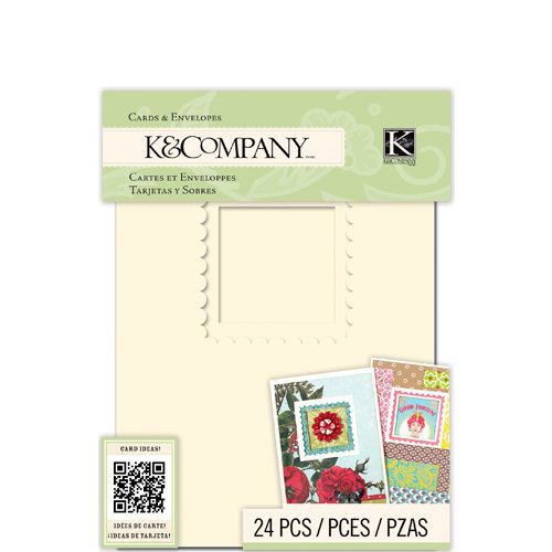 K and Company - Beyond Postmarks Collection - Die Cut Cards and Envelopes - Ivory